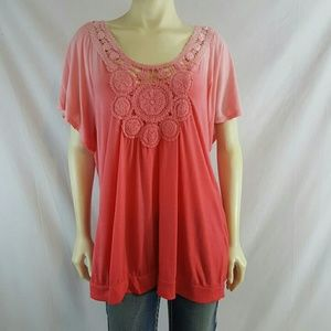 Live and Let Live Pink Ombre Crochet Tunic Top